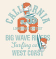 cute kids california surfing company vector image vector image