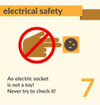 electrical safety simple art poster vector image vector image