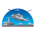 flying helicopter in airport vector image vector image