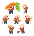 funny farmer gardener character in different vector image vector image