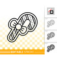gingerbread cookie candy cane line icon vector image