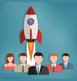 group of business people with rocket behind them vector image vector image