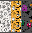 hand drawn with halloween pattern background set vector image vector image