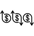 icon crisis development flourishing dollar vector image vector image