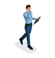 isometric businessman with gadgets vector image vector image
