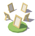 isometric low poly photo frame vector image vector image