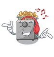 listening music cooking french fries in deep fryer vector image vector image