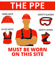 personal protective equipment warn signs vector image vector image