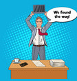pop art businessman holding laptop above his head vector image