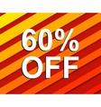 Red striped sale poster with 60 PERCENT OFF text vector image vector image