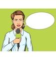 Reporter journalist woman pop art style vector image vector image
