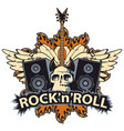 rock and roll banner with skull speaker wings vector image