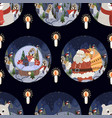 seamless pattern with round christmas-themed plate vector image vector image
