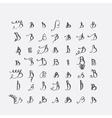 set of calligraphic letters B handwritten vector image vector image