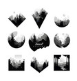 set of monochrome geometric logos with wild vector image vector image