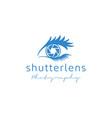 shutter lens and eye for photography logo design vector image vector image