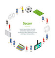 soccer banner card circle isometric view vector image