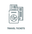 travel tickets line icon linear concept vector image vector image