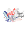 tropical aloha - hand drawing slogan with flamingo vector image