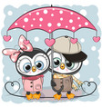two cute penguins with umbrella under the rain vector image