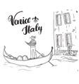 venice italy hand drawn sketch doodle gondolier vector image vector image