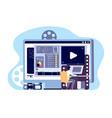 video editor concept multimedia content vector image