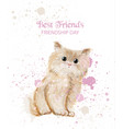 watercolor cute kitty friendship day card vector image