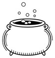 witch cauldron in linear style icon for halloween vector image