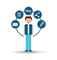 young man standing with social network icon vector image vector image