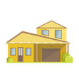 facade of small house with yellow walls and vector image