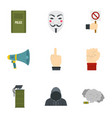 revolt protest icon set flat style vector image