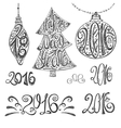 2016 year typography hand drawn title setBlack vector image