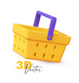 3d shopping basket colorful realistic render vector image