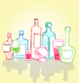 a bottle a glass a glass container for different vector image vector image