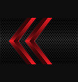 abstract red twin arrow grey metallic circle mesh vector image vector image