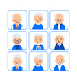 avatars elderly people of heads of pensioner in vector image