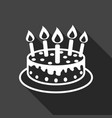 birthday cake with burning candles pictogram icon vector image vector image
