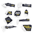 black friday sale paper banners isolated vector image