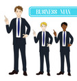 business man pointing with serious face vector image vector image