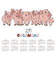 calendar 2019 company of cheerful pink pigs vector image vector image