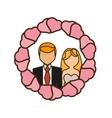 cartoon couple wedding hearts badge design vector image vector image