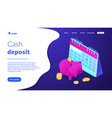 cash deposit isometric 3d landing page vector image vector image
