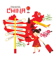 Chinese Girl Travel China with Direction Sign vector image