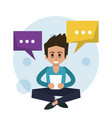 color background of man sitting and texting in vector image vector image