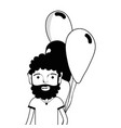 contour man with beard and balloons in the hand vector image vector image