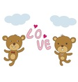 couple bear happy with love vector image vector image
