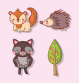 cute animals doodle cartoons vector image vector image