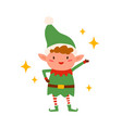 cute happy christmas elf isolated on white vector image