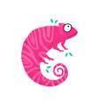 cute little pink chameleo flat vector image vector image