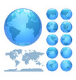 digital earth globes set and world map vector image vector image